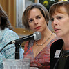 Salem:<br /> From left, Tiziana Dearing, CEO, Boston Rising, and Lynn Margherio, founder and CEO, Cradles to Crayons, listen to Dr. Patricia Maguire Meservey, president, Salem State University, during the 7th Annual Million Dollar Women Symposium held at the Hawthorne Hotel Wednesday morning.<br /> Photo by Ken Yuszkus/Salem News, Wednesday, November 9, 2011.