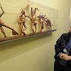 Peabody:<br /> Mary McDade, nurse manager, looks at Bart Stuyf's sculpture which is part of the collection of artwork exhibited at Boston Children's North Hospital in Peabody.<br /> Photo by Ken Yuszkus/Salem News, Thursday, February 24, 2011.