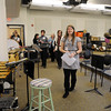 Beverly:<br /> Lauren Leclerc, student, leads a tour group through the band room after the ribbon cutting ceremony for the new Beverly High School on Friday morning.<br /> Photo by Ken Yuszkus/Salem News,  Friday,  November 19, 2010.