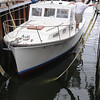 Salem:<br /> Thomas G. Brown, Jr., of Gloucester, donated his 34' Webber Cove power boat to Sail Salem. The boat was launched at Dion Yatch Yard.<br /> Photo by Ken Yuszkus/Salem News, Tuesday, August 16, 2011.
