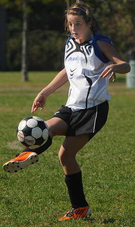 Peabody:<br /> Peabody's Molly Tansey stops the ball during the Peabody vs Lynn U14 game during the Peabody Youth Soccer's annual Columbus Day Tournament at Kennedy School fields.<br /> Photo by Ken Yuszkus/Salem News, Monday, October 10, 2011.