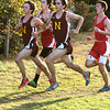 Hamilton:<br /> From left, Newburyport's Keith Conway, Masconomet's Marco Caserta, Newburyport's Chris Suprin, and Masconomet's Jake Moorman run near the original starting line line before making the loop to the finish line during the Masconomet vs Newburyport boys cross country race at Bradley Palmer Stae Park.<br /> Photo by Ken Yuszkus/Salem News, Thursday, October 20, 2011.