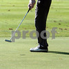 Beverly:<br /> Greg Doyle of St. John's Prep follows his ball after  putting on the 18th hole at the Beverly Golf & Tennis Club during the Division 1 State golf sectionals.<br /> Photo by Ken Yuszkus/Salem News, Monday October 26, 2009.