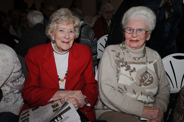 Salem:<br /> From left, Peg Hichens of Peabody and Eleanor Jorgenson of Lynnfield, attend the lecture series in Hamilton Hall.<br /> Photo by Ken Yuszkus/Salem News, Thursday, March 4, 2010.