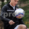 Topsfield:<br /> Justin Geibel, a former Masconomet and University of Vermont soccer player is going to Brisbane, Australia to play for a semi-pro team. <br /> Photo by Ken Yuszkus/Salem News, Monday, November 3, 2008.