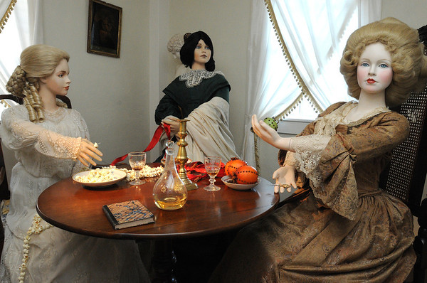 Salem:<br /> The ladies of the Gables in the sewing room of the House of the Seven Gables. The house is decorated for Christmas in various periods of the house's existence.<br /> Photo by Ken Yuszkus/Salem News, Friday, December 16, 2011.