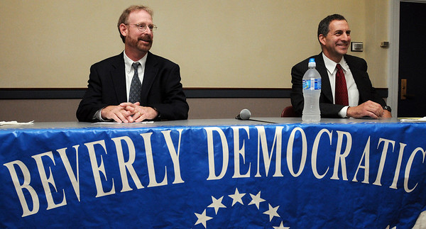 Beverly:<br /> Scott Houseman, left, and Jerry Parisella, both  Beverly Democratic state representative candidates at the start of the Beverly Democratic state representative debate at the Beverly Public Library.<br /> Photo by Ken Yuszkus/Salem News, Tuesday,  September 7, 2010.