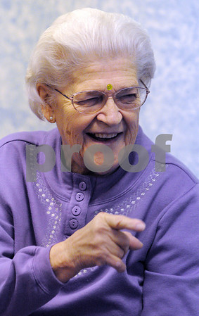 Middleton:<br /> Nellie Muzichuk laughs along with the rest of the group of senior citizens in laughter yoga at the Middleton Council on Aging.<br /> Photo by Ken Yuszkus/Salem News, Monday,  January 26, 2009.