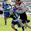 Beverly:<br /> Jack Liacos, Beverly boys lacrosse player, carries the ball down field in the game against Danvers at Hurd Stadium.<br /> Photo by Ken Yuszkus/Salem News, Monday, May 24, 2010.