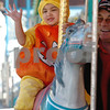 Salem:<br /> Chelsea Keefe, 3, of Windham, NH, rides the carousel in a pumpkin costume for Halloween. Thousands are expected to descend upon Salem tonight for Halloween.<br /> Photo by Ken Yuszkus/Salem News, Friday, October 31, 2008.