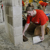 Middleton:<br /> Tory Gulbrandsen of Beverly and from the North Shore Technical High School, builds a composite wall during the Trowel Trades Competition at the school. <br /> Photo by Ken Yuszkus/Salem News, Wednesday, May 23, 2012.