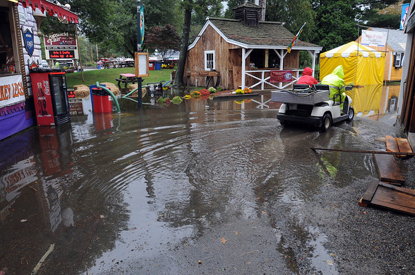 Topsfield:<br /> Minor flooding at the Topsfield Fair grounds Tuesday afternoon.<br /> Photo by Ken Yuszkus/Salem News, Tuesday, October 4, 2011.