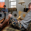 Beverly:<br /> Endicott College seniors Dan Curran, left, and Matt Atkinson are relaxing and watching TV at their apartment. Matt said he understands why the city plans to crack down on off-campus parties.<br /> Photo by Ken Yuszkus/Salem News, Friday, April 10, 2009.