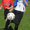 Peabody:<br /> Peabody's Eric Higgins stops the ball during the Peabody vs Salem U12 game during the Peabody Youth Soccer's annual Columbus Day Tournament at Kennedy School fields.<br /> Photo by Ken Yuszkus/Salem News, Monday, October 10, 2011.