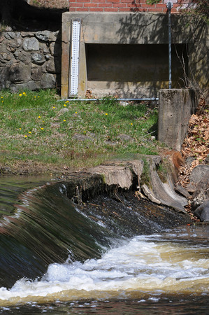 Ipswich::<br /> The water gauge for the Ipswich River.<br /> Photo by Ken Yuszkus/Salem News, Tuesday, April 10, 2012.