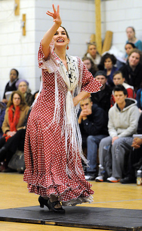 Salem:<br /> Flamenco dancer, Jamie La Damasquina, presents a performance at the Multipurpose Gym, O'Keefe Sports Center, Salem State University. It was followed by a master class in the dance studio.<br /> Photo by Ken Yuszkus/Salem News, Monday,  March 5, 2012.