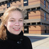 Salem:<br /> Meghan Debski, a Salem High student, was awarded a $5,000 grant from Dominion, the Virginia energy company that owns the Salem power plant, to install a solar light pole in the parking lot at Salem High. She is standing outside Salem High School.<br /> Photo by Ken Yuszkus/Salem News, Thursday, February 10, 2011.