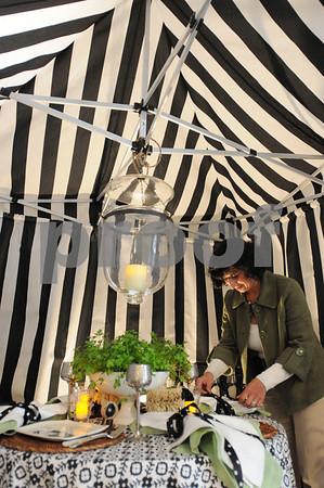 Wenham:<br /> Rosanne Palazola works on her display, Black and White Garden Party, for the North Shore Design Show: Tablescapes, which will be on display at the Wenham Museum.<br /> Photo by Ken Yuszkus/Salem News, Tuesday May 12, 2009.
