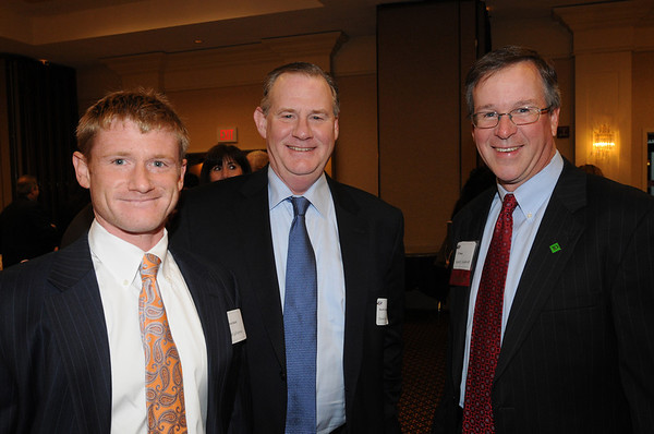 Peabody:<br /> From left, Matt LaFlamme, son of David LaFlamme, and Scott Vandersall, at the North Shore 100 Breakfast.The Economic & Public Policy Breakfast Forum was held at the  Peabody Marriott Hotel.<br /> Photo by Ken Yuszkus/Salem News, Wednesday, April 6, 2011.