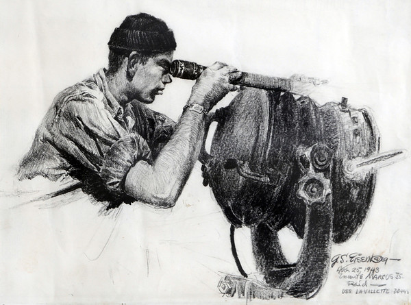 Marblehead:<br /> One of George Eisenberg's work during WWII. He was a WWII vet and renowned illustrator.<br /> Photo by Ken Yuszkus/Salem News, Thursday, May 26, 2011.