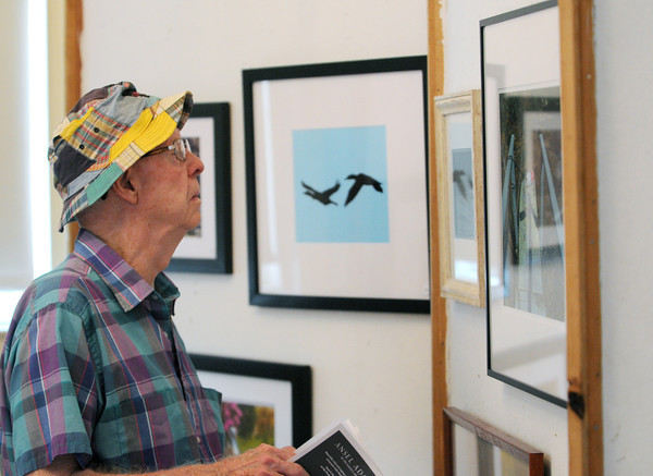 Marblehead:<br /> Albert Little of Marblehead views the photographs at the Old Town House during the Marblehead Festival of Arts.<br /> Photo by Ken Yuszkus/Salem News, Monday, July 2,  2012.