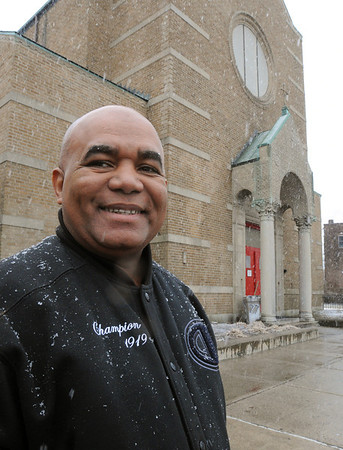 Salem:<br /> Pastor Reyes is head of Gateways of Peace, a Christian evangelical church, that bought the former St. Mary's Italian church and is moving from its present location on Canal Street. <br /> Photo by Ken Yuszkus/Salem News, Wednesday,  February 29, 2012.