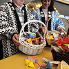 Salem:<br /> James Monahan and Cristina Capra, both 7th graders at the Collins Middle School, hold baskets of paper cranes that the 7th graders made. For weeks, the school has been raising funds for tsunami relief in Japan.<br /> Photo by Ken Yuszkus/Salem News, Friday, May 6, 2011.
