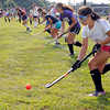 Peabody:<br /> Sabrina Rizzo, right, one of the three captains, goes through a drill on the first day of field hockey practice at Peabody Veterans Memorial High School<br /> Photo by Ken Yuszkus/The Salem News, Thursday, August 23, 2012.