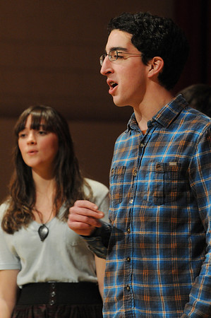 Salem:<br /> Meryl Schultz, left, and Craig Simonetti, both members of the Salem High School's WitchPitch, sing for the AARP Chapter 2454 meeting in the Salem High School auditorium on Friday afternoon.<br /> Photo by Ken Yuszkus/Salem News, Friday, January 7, 2011.