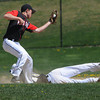 Peabody:<br /> Bishop Fenwick's Mike Cipriani is safe on second base on a steal as North Andover's Steven Kramer grabs the throw during the North Andover at Bishop Fenwick baseball game. <br /> Photo by Ken Yuszkus/Salem News, Wednesday, April 18, 2012.
