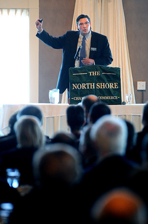 Danvers:<br /> David Caruso, President, Coastal Capital Group speaks at The North Shore Chamber of Commerce event held at the Danversport Yatch Club.<br /> Photo by Ken Yuszkus/Salem News, Wednesday, January 6, 2010.