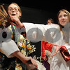 "Salem:<br /> Marlena Udden, left, plays the part of Ling and Mackenzie Borowski plays the part of Yao during dress rehearsal of the play ""Mulan"". The Collins Middle School's production of Mulan will run April 15 to 17.<br /> Photo by Ken Yuszkus/Salem News, Wednesday, April 8, 2009."