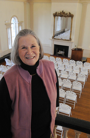 Salem:<br /> Pamela Jendrysik, president of the board of directors, stands in the balcony overlooking the ball room at Hamilton Hall.<br /> Photo by Ken Yuszkus/Salem News, Tuesday,  March 6, 2012.