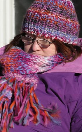 Salem:<br /> Donna Jay is bundled up to fight the wind and cold.<br /> Photo by Ken Yuszkus/Salem News, Wednesday, January 4, 2011.