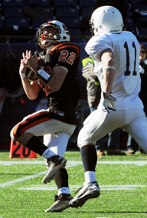 Foxboro:<br /> Blake Sullivan gets the long throw far down field during the Beverly vs Scituate in the Division 3 Super Bowl at Gillette Stadium on Saturday.<br /> Photo by Ken Yuszkus/Salem News, Saturday, December 4, 2010.