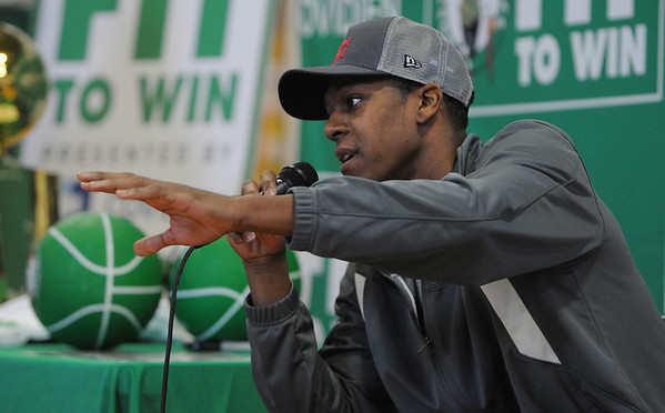Salem:<br /> Rajon Rondo, Celtics point guard, speaks at the Bates Elementary School. Also,  Brandon Bass, Celtics forward, Bryan Doo, Celtics strength and conditioning coach, and Lucky, the Celtics mascot, were present for the program promoting a healthy and active lifestyle.<br /> Photo by Ken Yuszkus/Salem News, Thursday,  March 8, 2012.