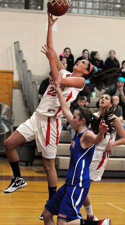 Topsfield:<br /> Masco's Claudia Marsh goes up for the net during the Somerville at Masconomet girls basketball playoff home game.<br /> Photo by Ken Yuszkus/Salem News, Thursday,  March 1, 2012.
