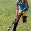 Peabody:<br /> Joanne Frangis, one of the three captains, goes through a drill on the first day of field hockey practice at Peabody Veterans Memorial High School<br /> Photo by Ken Yuszkus/The Salem News, Thursday, August 23, 2012.