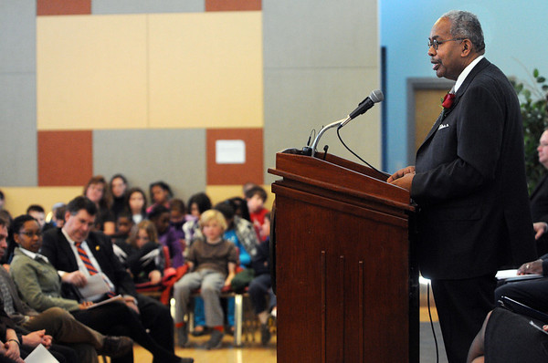 """Salem:<br /> Ernest Green, one of the """"Little Rock Nine"""" who integrated Central High School in Little Rock, Ark., following the Supreme Court's landmark 1954 decision in """"Brown. v. Board of Education"""", speaks at Veterans Hall at Salem State University.<br /> Photo by Ken Yuszkus/Salem News, Monday, January 30, 2012."""