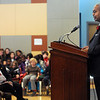 "Salem:<br /> Ernest Green, one of the ""Little Rock Nine"" who integrated Central High School in Little Rock, Ark., following the Supreme Court's landmark 1954 decision in ""Brown. v. Board of Education"", speaks at Veterans Hall at Salem State University.<br /> Photo by Ken Yuszkus/Salem News, Monday, January 30, 2012."