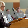 Salem:<br /> Carol MacGowan, executive director, Salem Housing Authority, speaks at the Rededication of Rainbow Terrace ceremonies at Salem State College's Veteran Hall.<br /> Photo by Ken Yuszkus/Salem News, Thursday November 5, 2009.