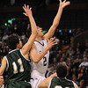 Boston:<br /> St. John's Prep's Stephen Haladyna goes after a loose ball during the St. John's Prep vs Mansfield in the boys state semifinal basketball game at the Boston Garden.<br /> Photo by Ken Yuszkus/Salem News, Tuesday March 15, 2011.