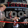 Salem:<br /> From left, Matt Picarsic of RCG, Salem Mayor Kim Driscoll, and John Keenan, state representative, get ready to cut the ribbon in front of the new Tavern In The Square during the grand opening ceremonies.<br /> Photo by Ken Yuszkus/Salem News, Monday, June 1, 2009.
