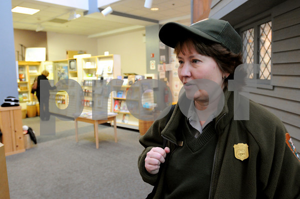 Salem:<br /> Michelle Bless, park ranger at the Salem Visitors Center, talks about the increase of visitors to the center.<br /> Photo by Ken Yuszkus/Salem News, Wednesday October 14, 2009.