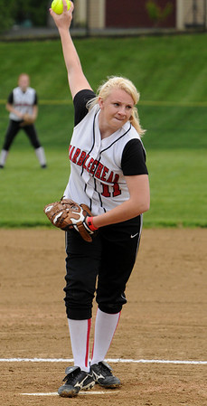 Marblehead:<br /> Marblehead's pitcher, Sarah Hastings, winds up for a pitch at the Danvers at Marblehead softball game.<br /> Photo by Ken Yuszkus/Salem News, Monday, May 23, 2011.