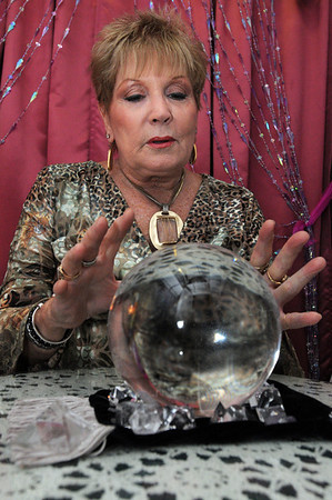 Salem:<br /> Barbara Szafranski with her crystal ball at Angelica of the Angels.<br /> Photo by Ken Yuszkus/Salem News, Wednesday,  October 6, 2010.
