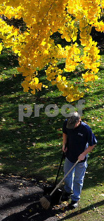 Salem:<br /> Dexter Beattie from the Peabody Essex Museum, sweeps up litter under the yellow autumn leaves in Armory Park.<br /> Photo by Ken Yuszkus/Salem News, Monday October 27, 2008.