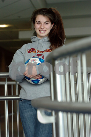 Swampscott:<br /> Skylar Sabbag is one of the top players on the North Shore, Sabbag will go to Central Michigan next year with nearly a full scholarship. She is wearing a Central Michigan jersey.<br /> Photo by Ken Yuszkus/Salem News, Monday,  February 2, 2009.