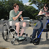 Topsfield:<br /> From left, Gigi Ranno, project director, Universal access Program, speaks with Ashleigh Kennedy of North Hampton, NH, who is filling out a liability form before she can ride a horse. The free program for physically disabled people to be able to ride a horse was held at the Bradley Palmer State Park.  <br /> Photo by Ken Yuszkus/Salem News Friday, September 05, 2008