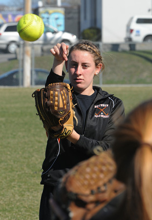 Beverly:<br /> Kate Sylvestri during Beverly High softball practice at Innocenti Field.<br /> Photo by Ken Yuszkus/Salem News, Tuesday, April 3, 2012.